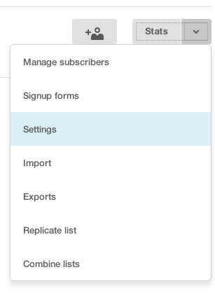 Mailchimp list settings